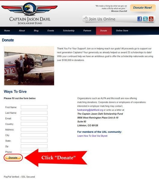 Donate to the Captain Jason Dahl Scholarship Fund and win a Ride in a World War II T-6 Racer