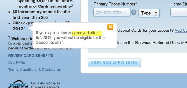 Do You Really Have to Get APPROVED for the Starwood 30,000 Point Sign-Up Bonus Before September 4, 2012 [Expired]