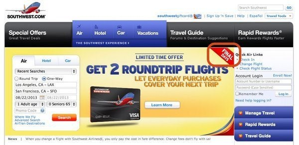 Southwest 50,000 Point Offer (~$850 in Flights or ~$500 in Gift Cards) Ends Tomorrow (Expired)