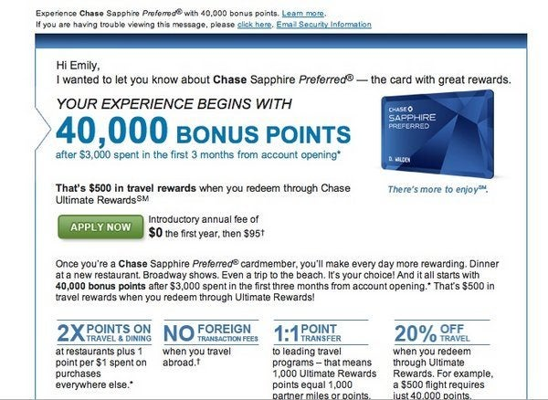 Update on 5,000 Points Chase Referral for Sapphire Preferred