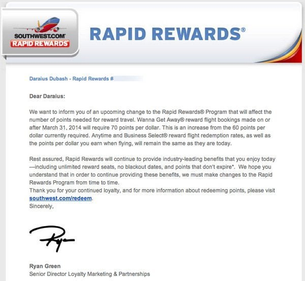 Southwest Increases Points Redemptions by 15%