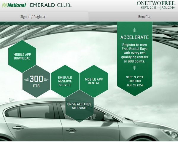 1,200 One, Two, Free (National Car Rental) Points Winners!