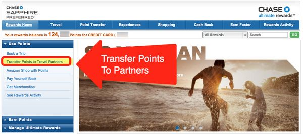 chase.com freedom redeem points