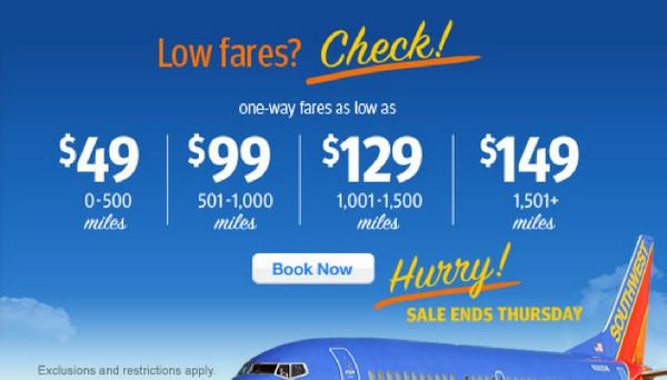 Southwest Fare Sale Starting at $49!