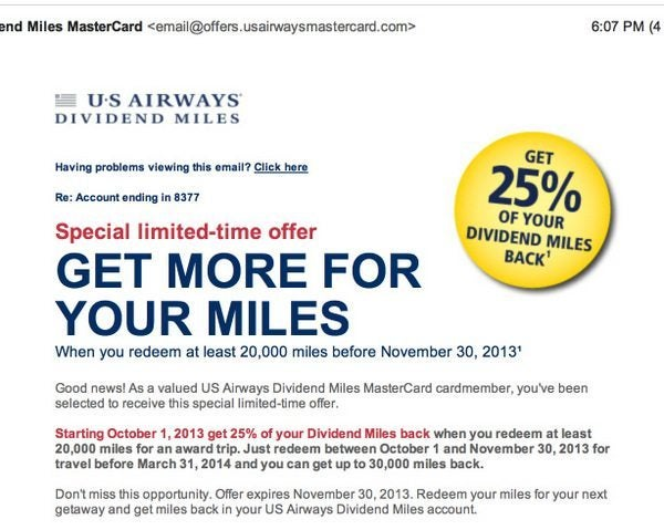 US Air Redeemed Miles Bonus