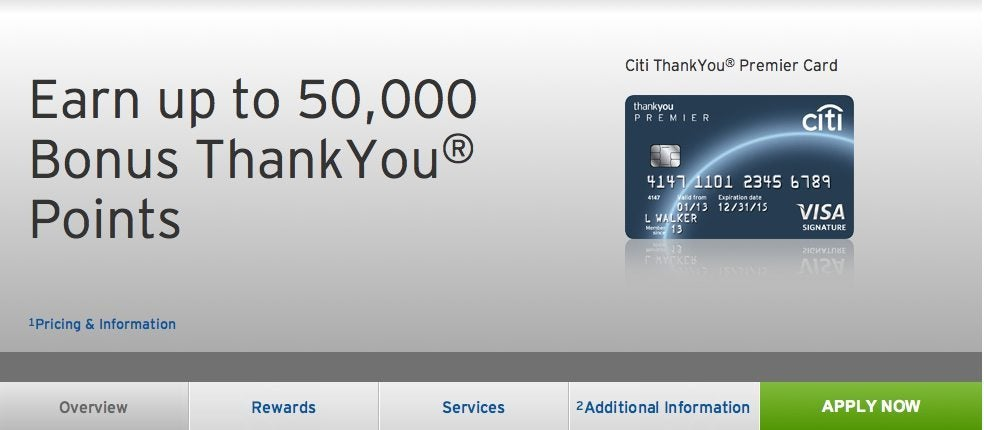 50,000 Citi Thank You Points ($665 Value) with Citi Thank You Premier [Expired]