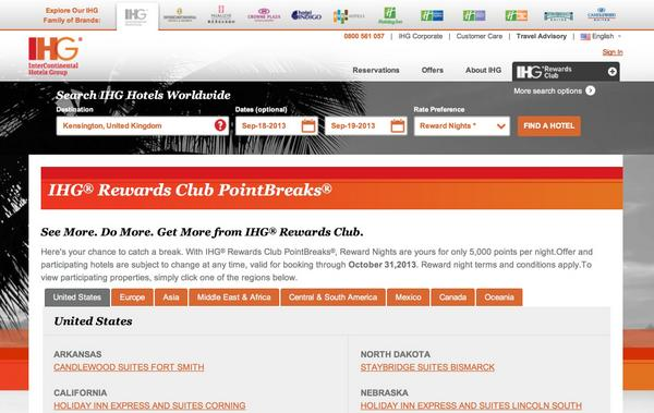 IHG Points Break Q4 2013