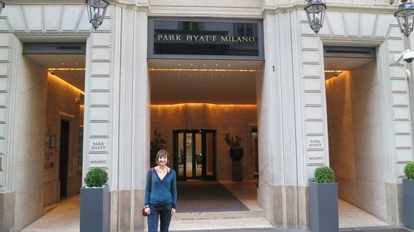 Emily Outside the Park Hyatt in Milan
