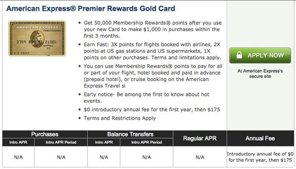 50,000 Points American Express Premier Rewards Gold Available To Some