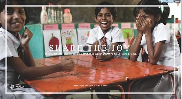 Donate Money for Free to Room to Read Via Hyatt's Share The Joy Promotion