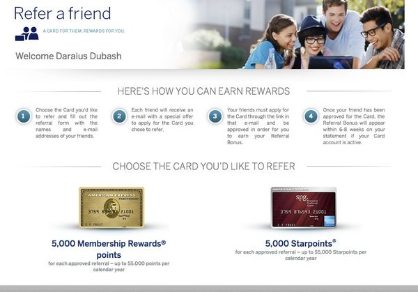 Don't Use Our Link & Get 5,000 Extra Points For Referring The American Express Starwood & Premier Rewards Gold Card