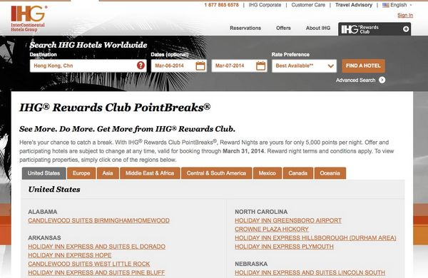 5,000 IHG Rewards Points $35 For Select Hotels Through March 31, 2014