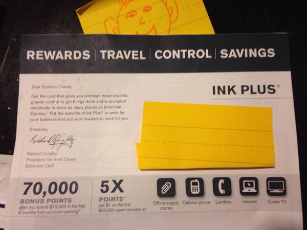 Targeted 70,000 Point 875 Chase Ink Plus