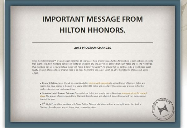 Hilton Category Changes