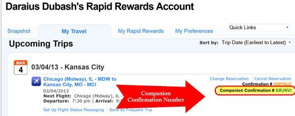 southwest confirmation number example