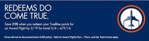 Today Only: Save 25% on JetBlue Award Flights