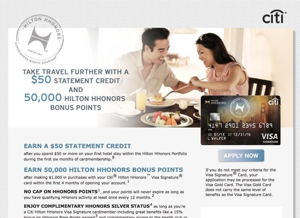 50,000 Hilton Points & $50 Statement Credit with Citi Hilton Card