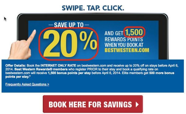 Up to 20% Off & 1,500 Points at Best Western Hotels Before April 6, 2014