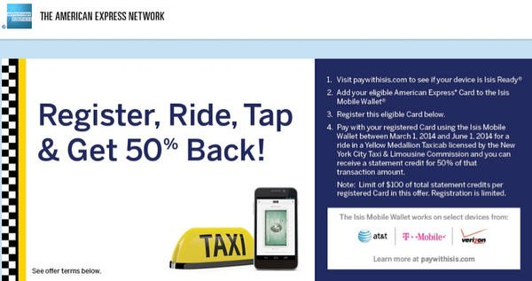 50% Off Cabs In NYC Until June 1, 2014 With American Express Cards