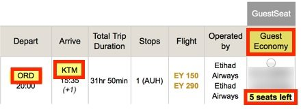 Etihad Award Routes