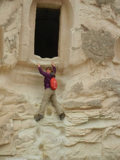 Climbing the Cave in Cappadocia, Turkey