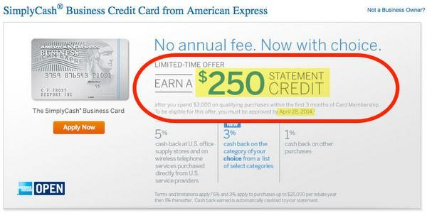 One Week Left:  $250 Sign-Up Bonus on American Express SimplyCash