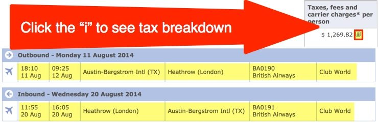 $1270 in taxes/fees/fuel surcharge in business class between Austin and London