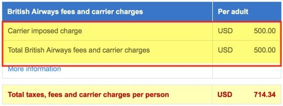 $500 of the $714 are fuel surcharges, which US Airways isn't charging.