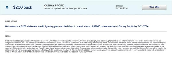 200 AMEX Statement Credit For Buying A Cathay Pacific Ticket