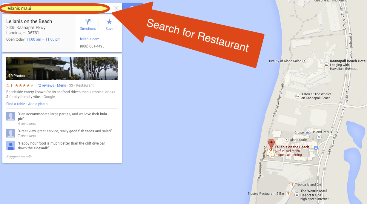 Step 1 - Search for Restaurant