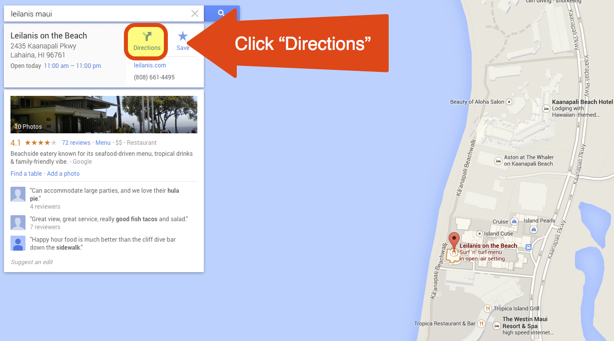 """Step 2 - Click on """"Directions"""""""