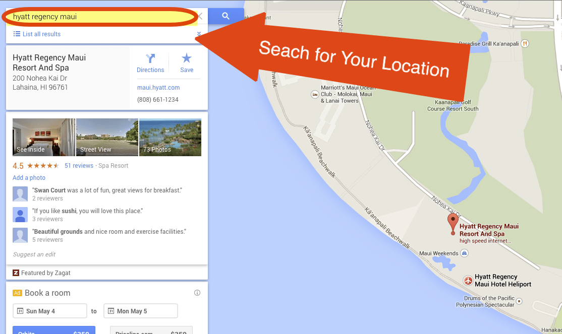 Step 1 - Search for Your Location