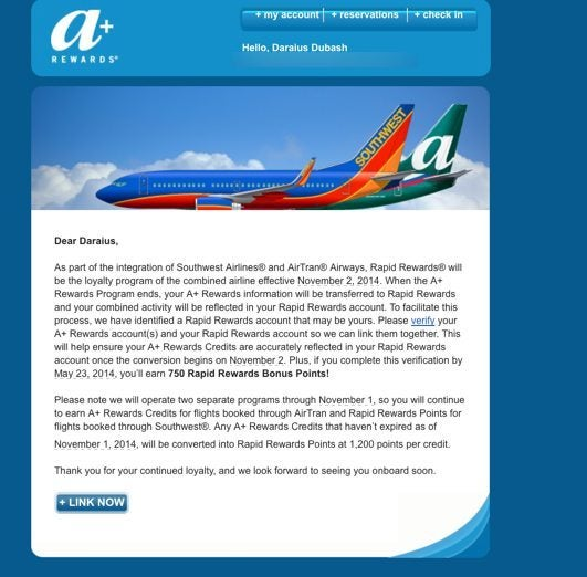 Check Your Email Earn 750 (~$11) Southwest Points When You Verify Your Southwest Account