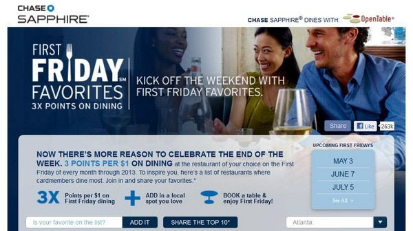 Reminder It's 1st Friday Get 3X Points At Restaurants With Chase Sapphire Preferred