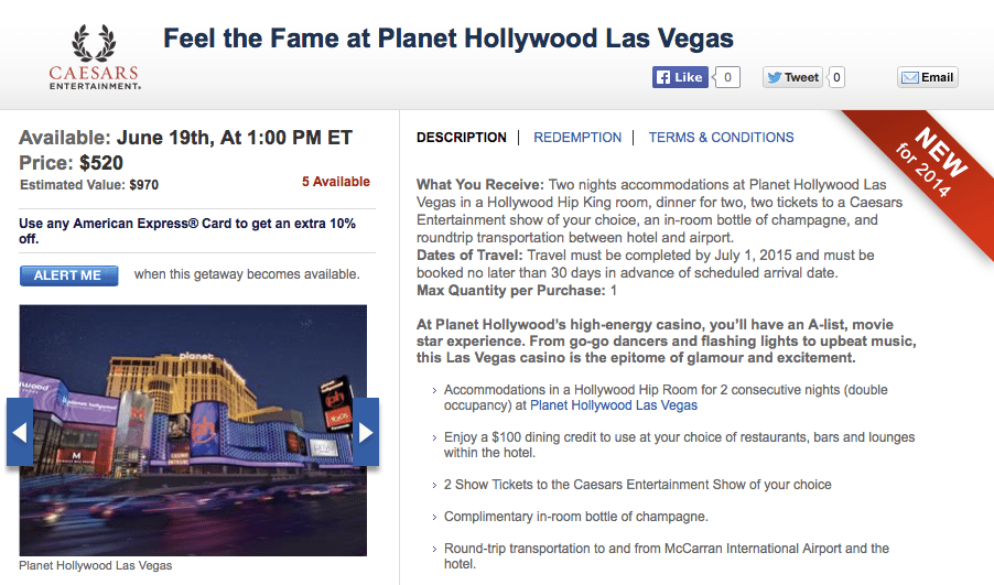 A 2 Night Package at Planet Hollywood Las Vegas for $520