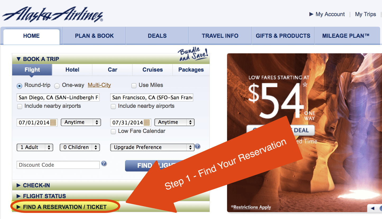 """Step 1 - Click on """"Find a Reservation/Ticket"""""""