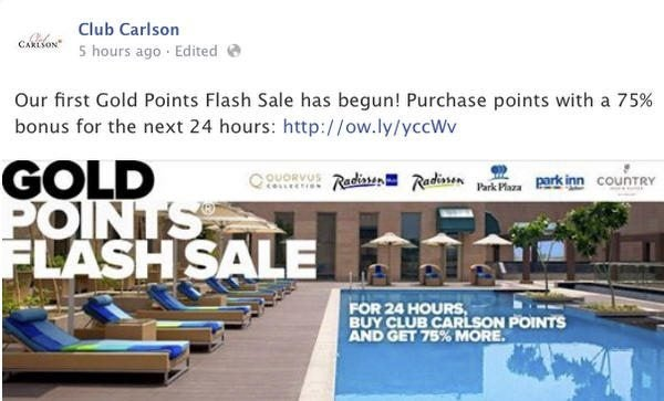 24 Hours Only Get A 75 Bonus On Purchased Club Carlson Points