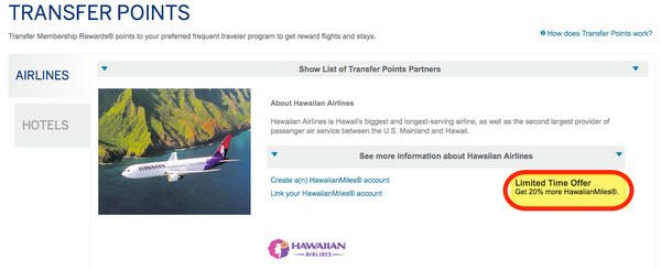 American Express 20% Transfer Bonus To Hawaiian Airlines Until June 23, 2014