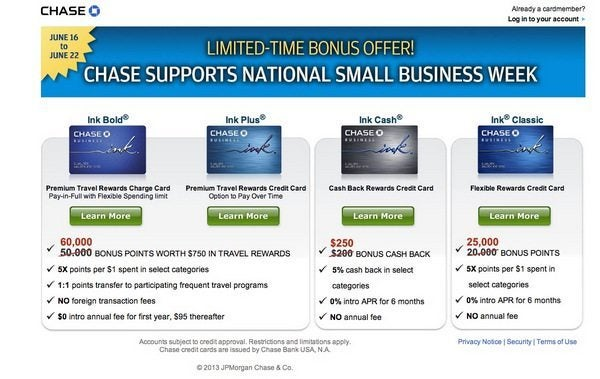 6 Days Only:  Chase Ink Plus & Bold Sign-Up Bonus Increases From 50,000 Points to 60,000 Points (~$600+)! [Expired]