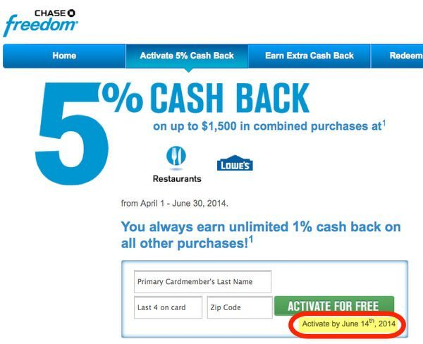 Last Day to Activate Chase Freedom 5X Points (or 5% Cash Back) Q2 2014 Bonus!