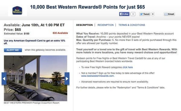 Today Only: Save 35% On Best Western Points