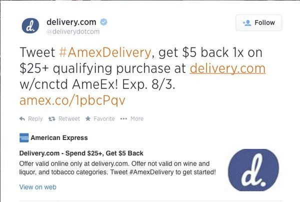 5 Statement Credit For Spending 25 At Deliverycom 7 For New Users