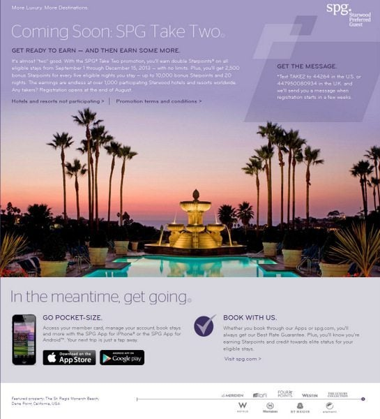Starwood Preferred Guest Offering Double Points Per Stay with Take Two Promotion