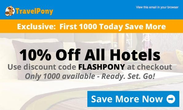Today Only:  Save 10% on Discounted Hotel Bookings With TravelPony