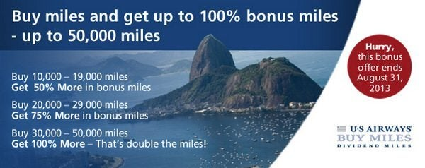 US Airways Dividend Miles 100% Bonus