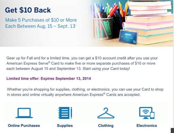 AMEX Serve Targeted Offer:  Up to a $25 Credit When You Make 5 Purchases