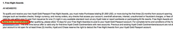 Can You Use 2 Free Hyatt Nights For Someone Else