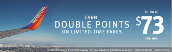 Double Points and Flights as Low as $73 on Southwest