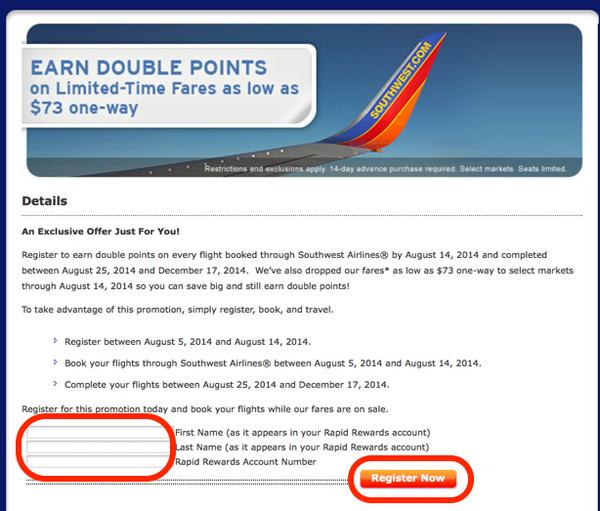Double Points And Flights As Low As 73 On Southwest