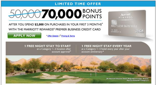 Limited time 70000 points and 1 free night with chase for Marriott business credit card 70000